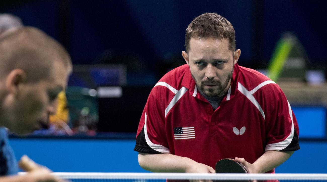 Tahl Leibovitz, Team USA table tennis player, plays Hungary's Dezso Berecki at the Paralympic Games in Rio de Janeiro, Brazil, on Saturday, Sept. 10, 2016. Leibovitz went on to win the match and advance to the next round of Class 9 table tennis. Leibovitz