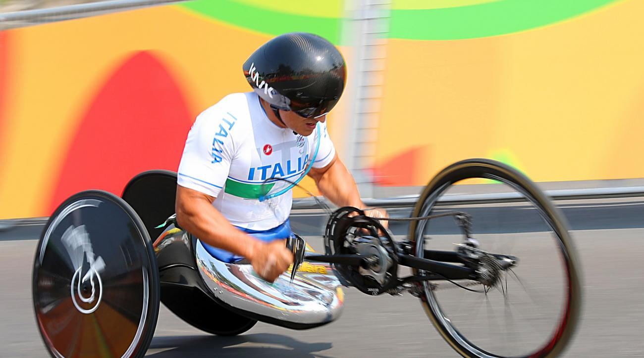 Italy's Alessandro Zanardi competes in the Men's Time Trial H5 held in Pontal, during the seventh day of the 2016 Rio Paralympic Games in Rio de Janeiro, Brazil, Wednesday, Sept. 14, 2016. (Andrew Matthews/PA via AP)