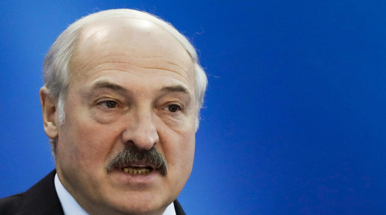 Belarus' President Alexander Lukashenko speaks at the European Olympic Committees General Assembly in Minsk, Belarus, Friday, Oct. 21, 2016. Lukashenko says his country is ready to host the 2019 European Games. (AP Photo/Sergei Grits)