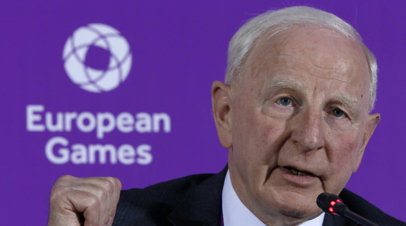 FILE - In this June 11, 2015 file photo, Patrick Hickey, the head of the European Olympic Committee speaks during a news conference on the eve of the opening of the 2015 European Games in Baku, Azerbaijan. The European Olympic Committees acting leader  Ja