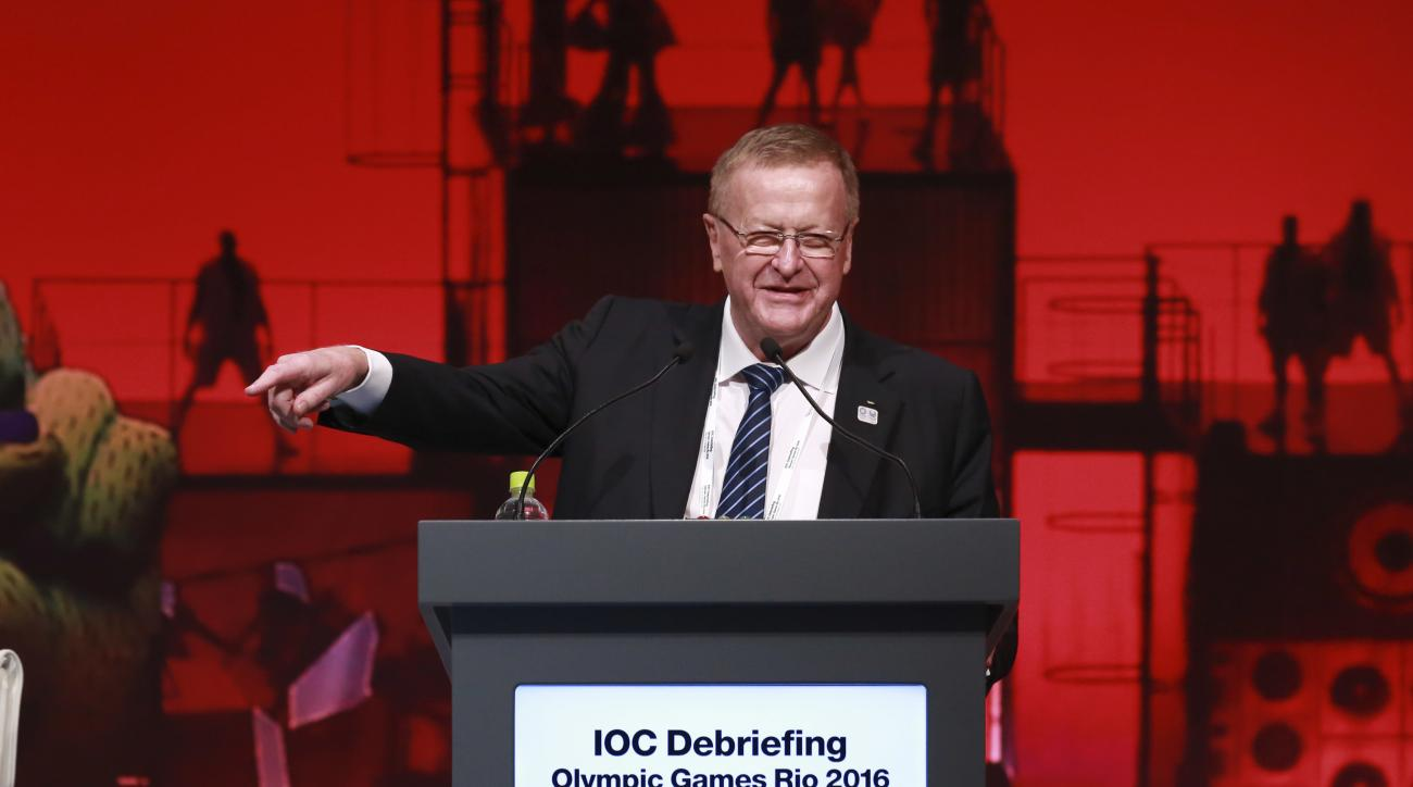 IOC Vice President John Coates delivers a speech during the closing plenary session of the IOC Debriefing of the Olympic Games Rio 2016, in Tokyo, Wednesday, Nov. 30, 2016. The three-day IOC debriefing ends Wednesday to share knowledge and experiences bet