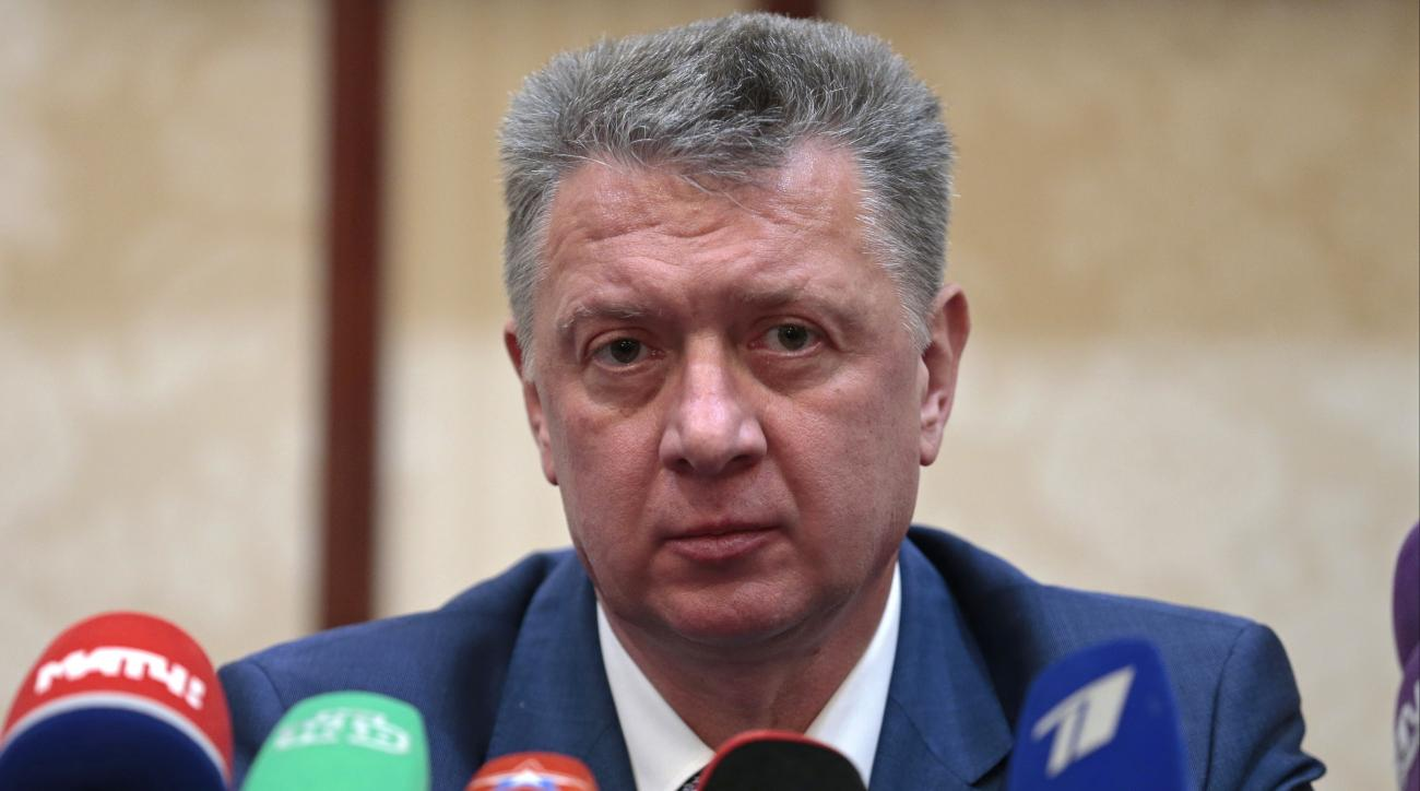 President of the Russian track-and-field federation Dmitry Shlyakhtin speaks at a news conference in Moscow, Russia, Friday, Dec. 9, 2016. The International Athletics Federation said on Friday that it was retesting all Russian samples it has stored since