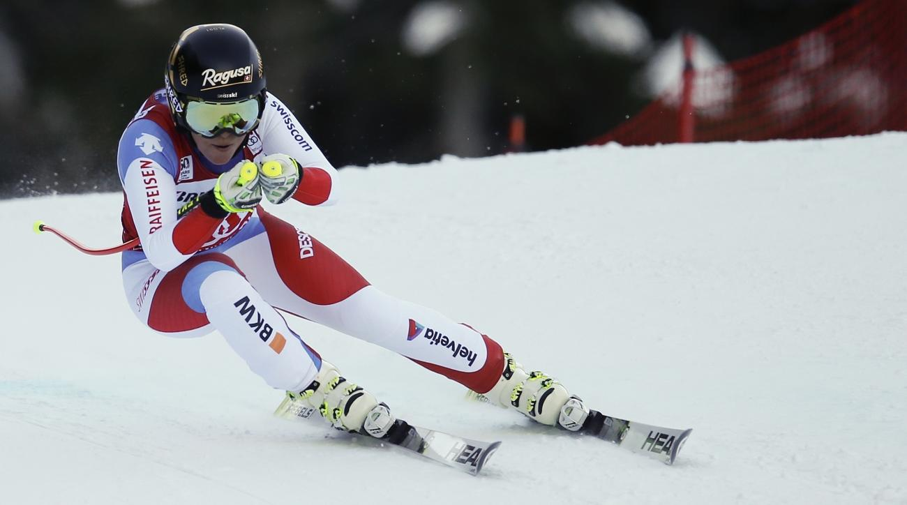 Switzerland's Lara Gut competes during an alpine ski, women's World Cup super-G, in Garmisch-Panterkirchen, Germany, Sunday, Jan. 22, 2017. (AP Photo/Marco Trovati)