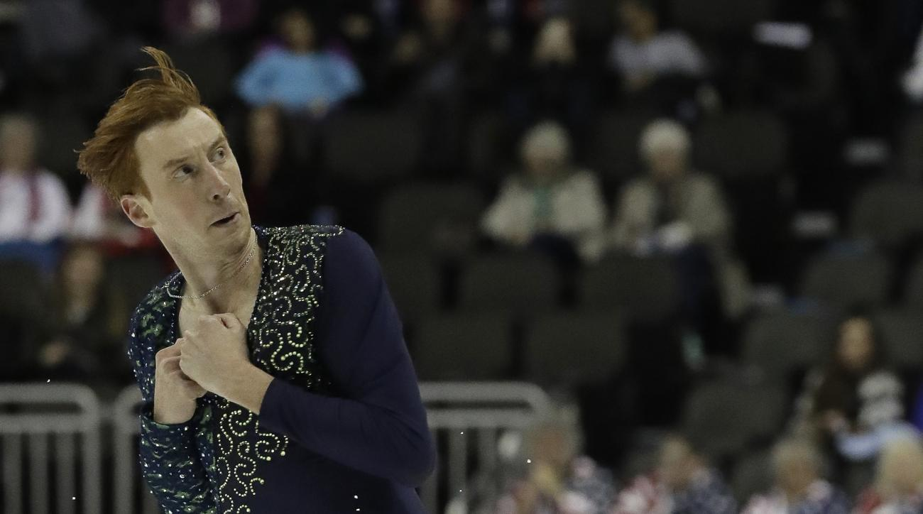 Sean Rabbitt performs during the men's free skate competition at the U.S. Figure Skating Championships, Sunday, Jan. 22, 2017, in Kansas City, Mo. (AP Photo/Charlie Riedel)