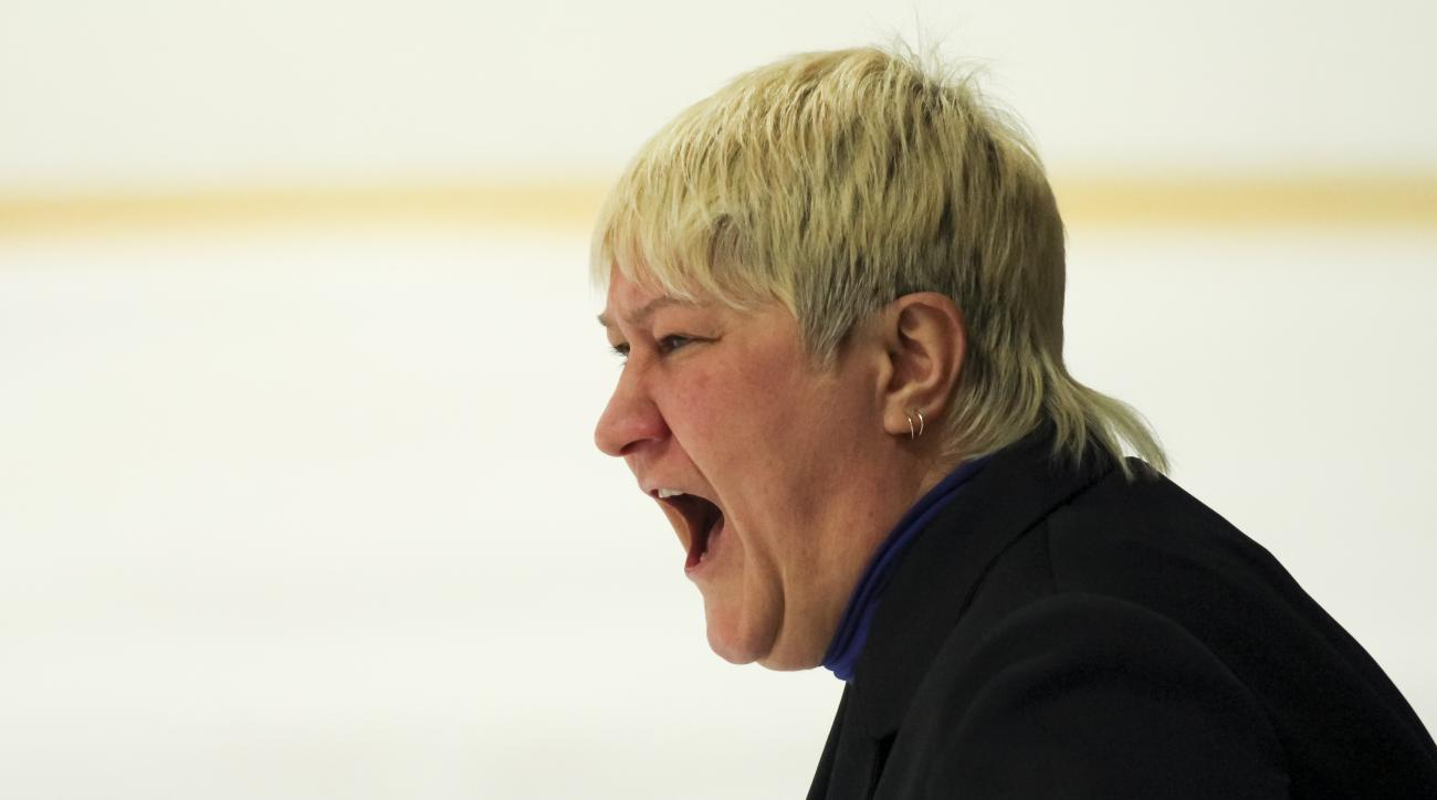 WITH STORY: RUSSIA RECORD LOSING STREAK - In this photo taken on Saturday, Jan. 21, 2017, Sverdlovsk's women's pro ice hockey team head coach Yulia Perova shouts instructions during their match against Biryusa Krasnoyarsk in Kurganovo, 15 Km (9,3 miles),