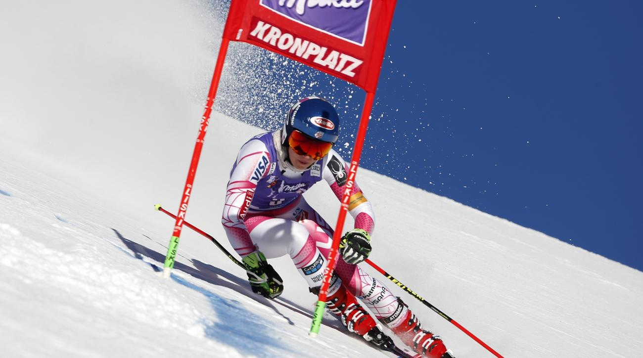 United States's Mikaela Shiffrin speeds down the course during an alpine ski, women's World Cup giant slalom, in San Vigilio di Marebbe, Italy, Tuesday, Jan. 24, 2017. (AP Photo/MarcoTrovati)