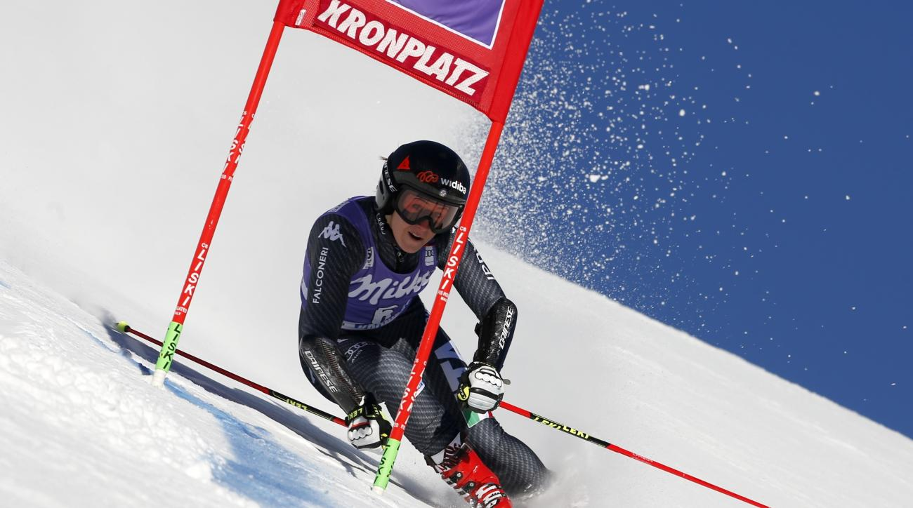Italy's Sofia Goggia speeds down the course during an alpine ski, women's World Cup giant slalom, in San Vigilio di Marebbe, Italy, Tuesday, Jan. 24, 2017. (AP Photo/Marco Trovati)