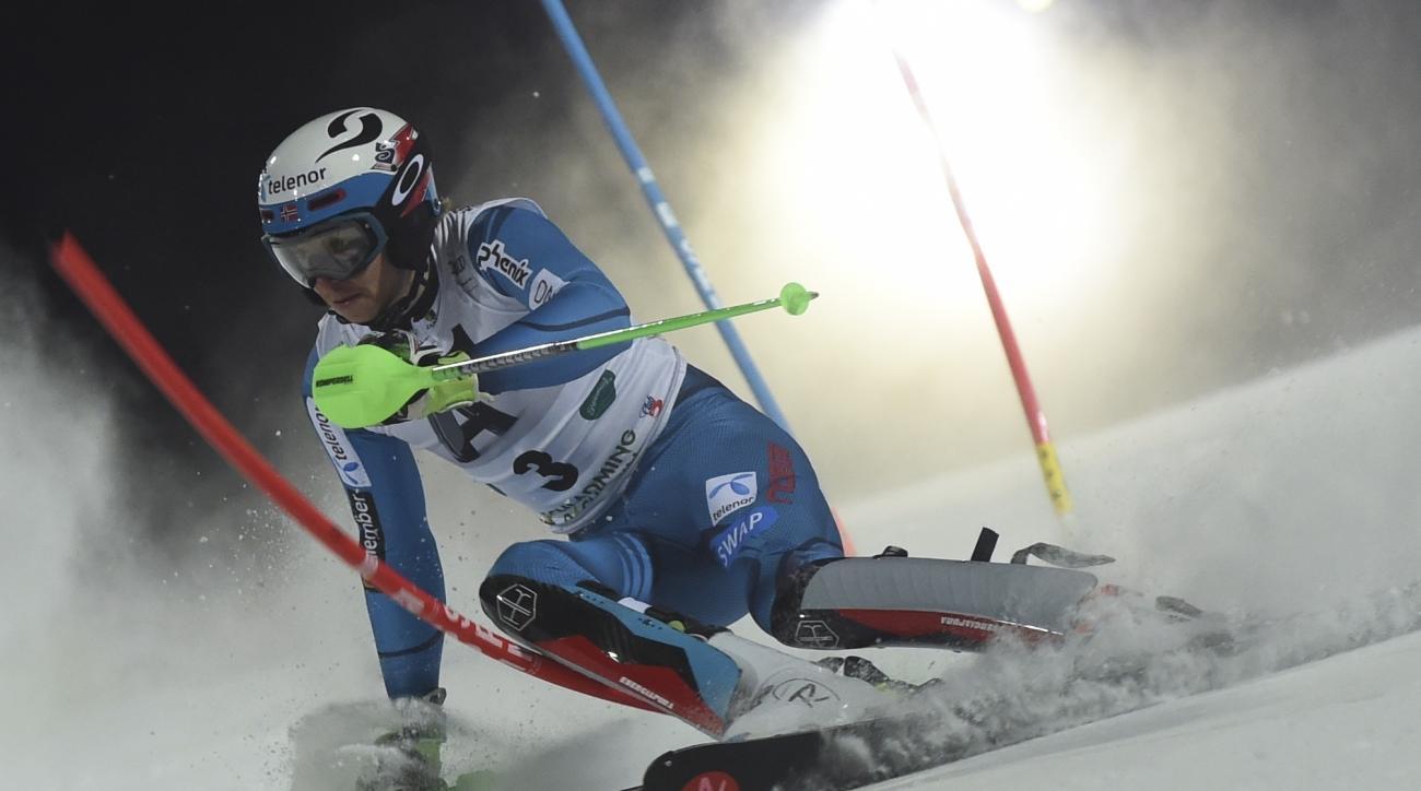 Norway's Henrik Kristoffersen competes during an alpine ski, men's World Cup slalom, in Schladming, Austria, Tuesday, Jan. 23, 2017. (AP Photo/Marco Tacca)
