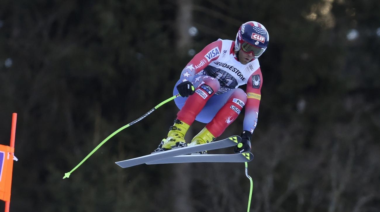 United States' Steven Nyman competes during an alpine ski, men's World Cup downhill race, in Garmisch Partenkirchen, Friday, Jan. 27, 2017. (AP Photo/Marco Tacca)
