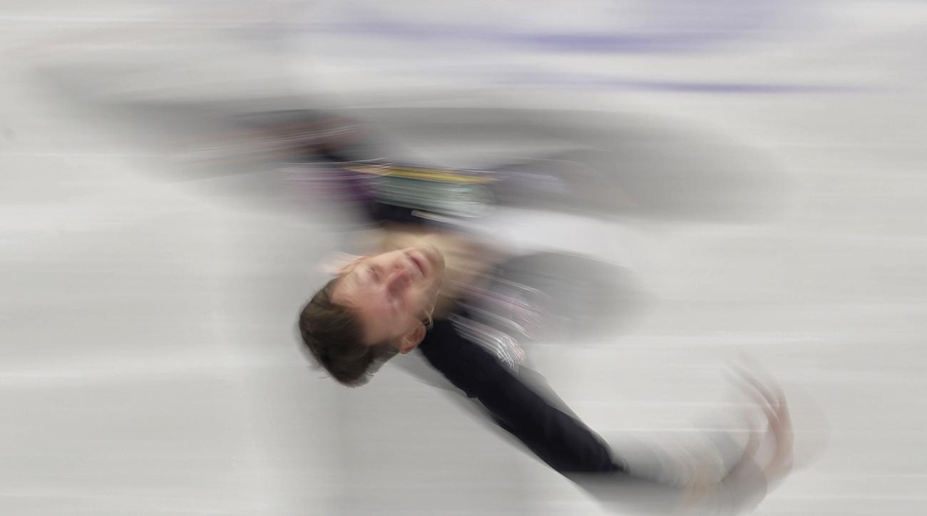 Russia's Maxim Kovtun skates his short program at the European Figure Skating Championships in Ostrava, Czech Republic, Friday, Jan. 27, 2017. (AP Photo/Petr David Josek)