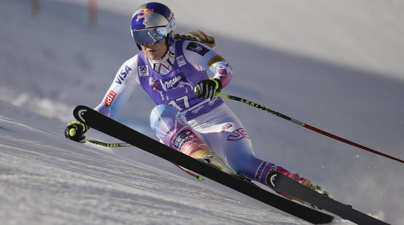 United States' Lindsey Vonn competes during an alpine ski, women's World Cup downhill race, in Cortina d'Ampezzo, Italy, Sunday, Jan. 28, 2017. (AP Photo/Domenico Stinellis)