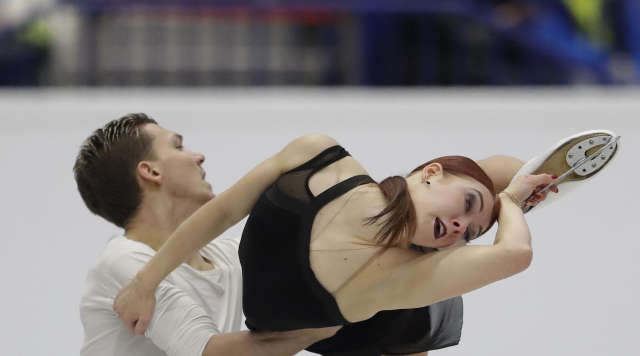 Russia's Ekaterina Bobrova and Dmitri Soloviev skate their ice dance free dance at the European Figure Skating Championships in Ostrava, Czech Republic, Saturday, Jan. 28, 2017. (AP Photo/Petr David Josek)