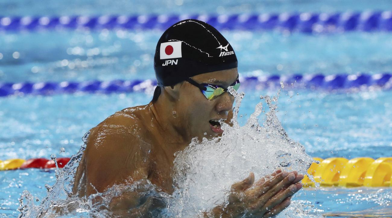FILE - In this Aug. 10, 2016 file photo, Japan's Ippei Watanabe competes in the final of the men's 200-meter breaststroke during the swimming competitions at the 2016 Summer Olympics in Rio de Janeiro, Brazil. Watanabe set a world record in the men's 200-