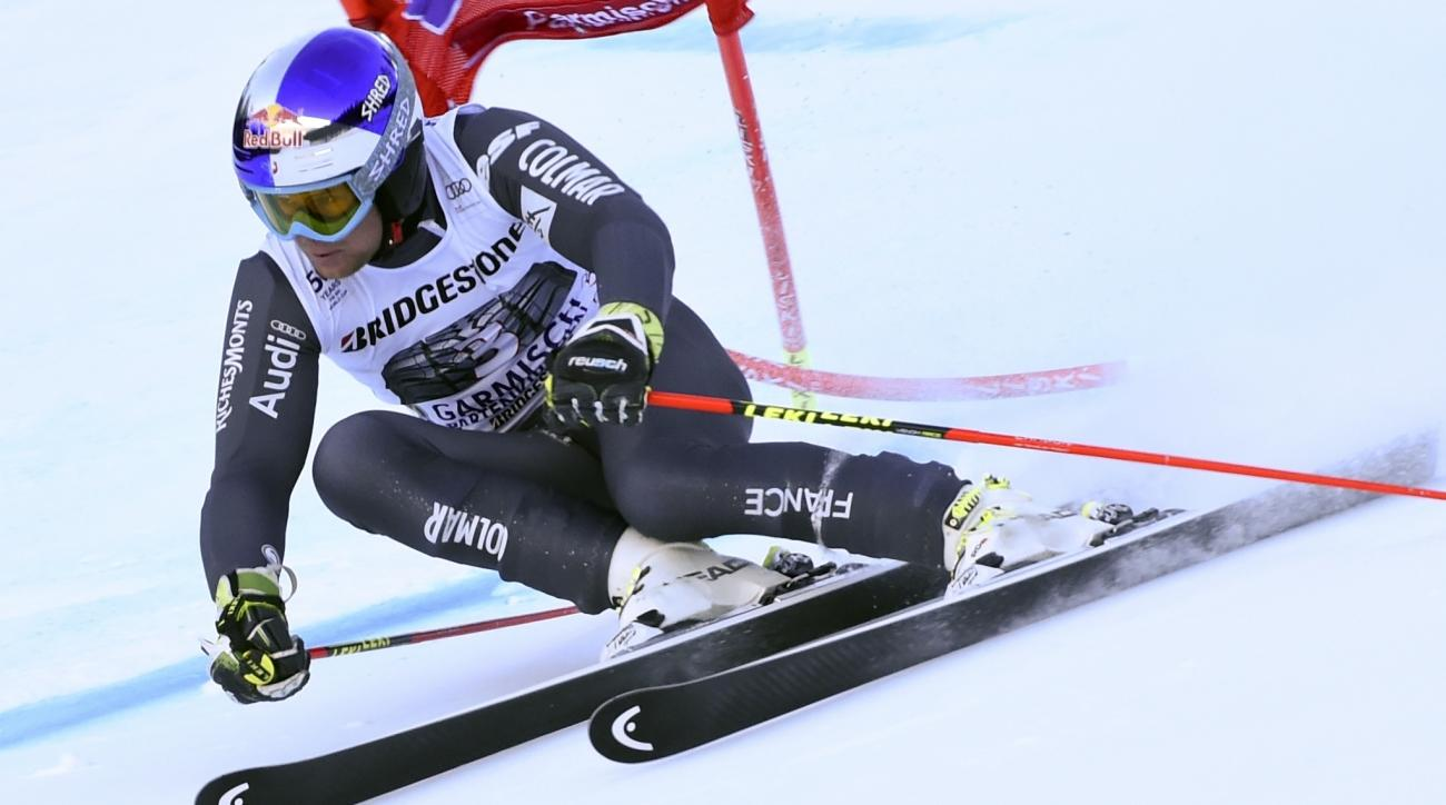 France's Alexis Pinturault competes during an alpine ski, men's World Cup giant slalom, in Garmisch-Panterkirchen, Germany, Sunday, Jan. 29, 2017. (AP Photo/Marco Tacca)