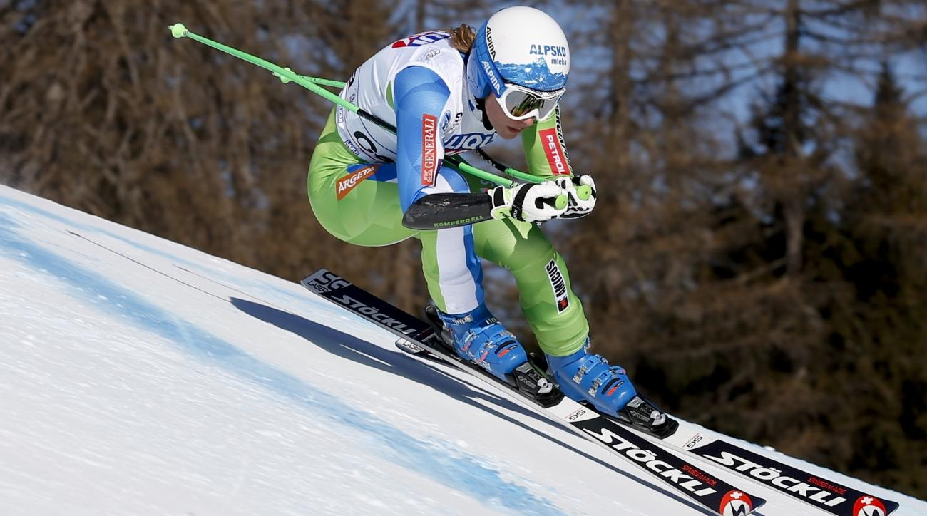 Slovenia's Ilka Stuhec competes during an alpine ski, women's World Cup super-G, in Cortina d'Ampezzo, Italy, Sunday, Jan. 29, 2017. (AP Photo/Marco Trovati)