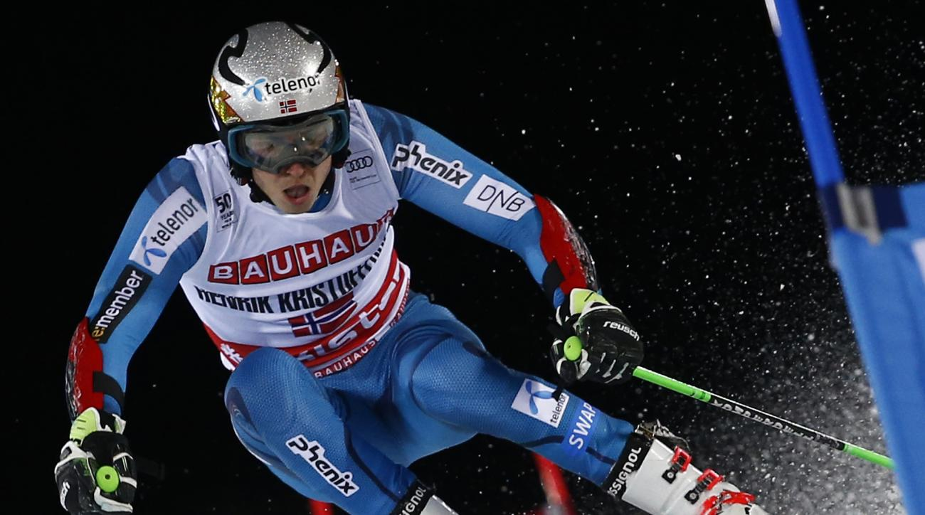 Norway's Henrik Kristoffersen competes during an alpine ski, men's World Cup parallel slalom in Stockholm, Sweden, Tuesday, Jan. 31, 2017. (AP Photo/Gabriele Facciotti)