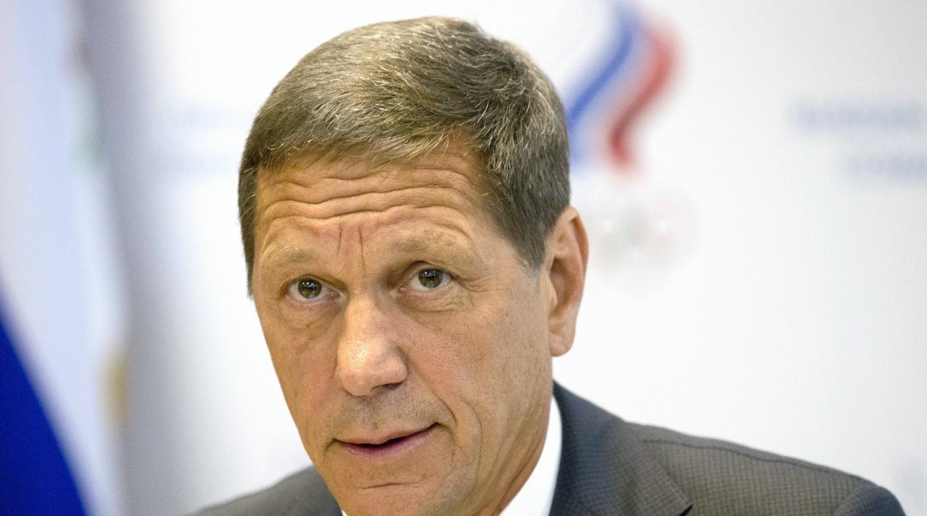 FILE- In this Wednesday, July 20, 2016 file photo Russian Olympic Committee president Alexander Zhukov opens the meeting of Russia's Olympic Committee in Moscow, Russia. Russian officials say none of their athletes have returned Olympic medals after retes