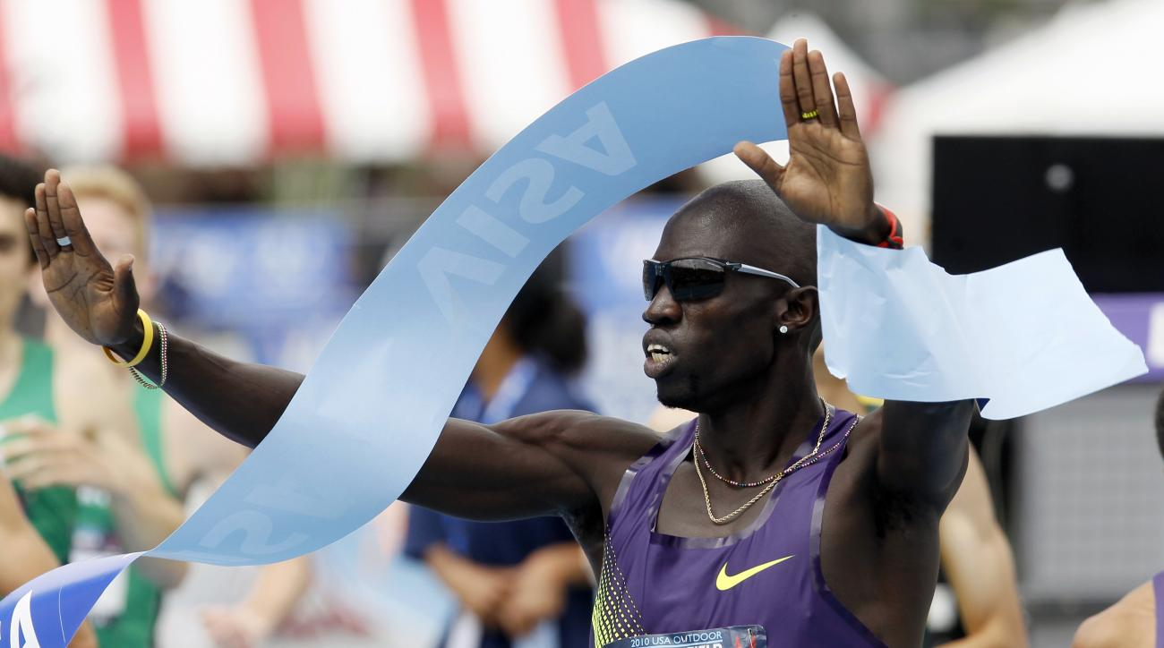 FILE - In this June 27, 2010, file photo, Team Nike's Lopez Lomong reacts after winning the men's 1500 meter race at the USA Outdoor Track and Field Championships Des Moines, Iowa.  The American middle-distance runners new home is creating fresh fear that