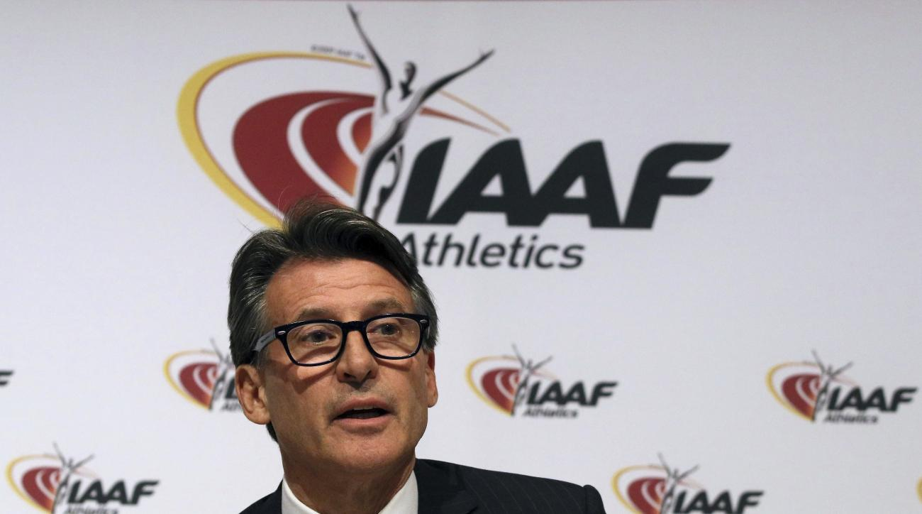 FILE - In this June 17, 2016 file photo, IAAF President Sebastian Coe speaks during a news conference after a meeting of the IAAF Council at the Grand Hotel in Vienna, Austria. The IAAF is upholding its global ban on Russian athletes and freezing all nati