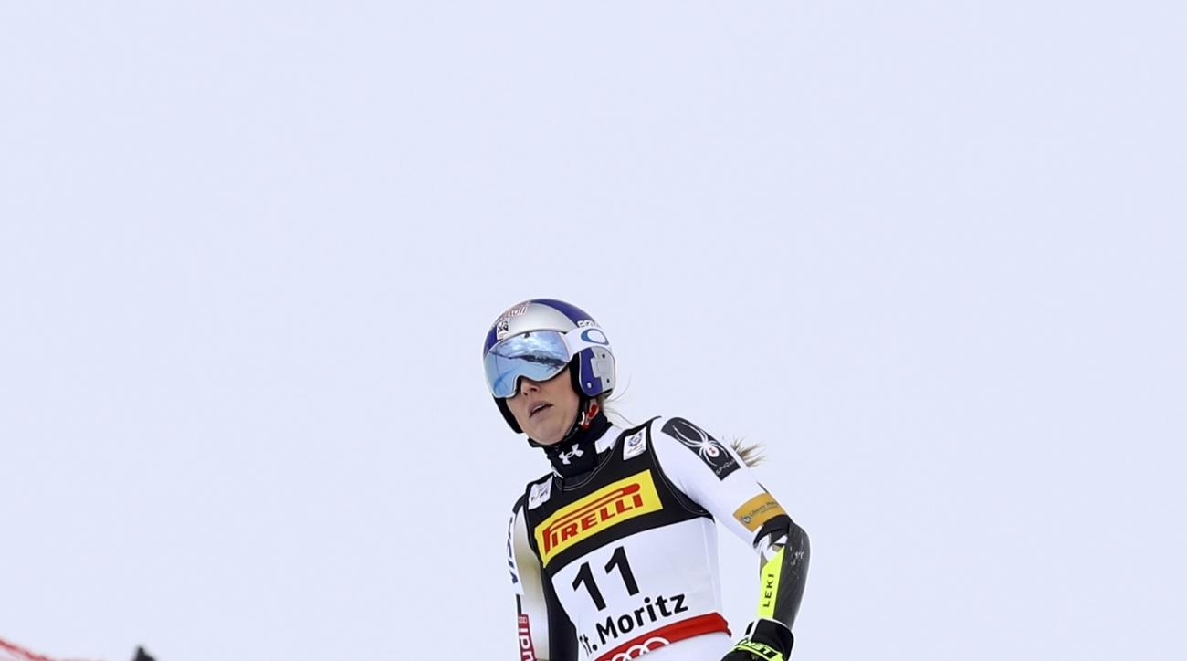 United States's Lindsey Vonn fails to finish a women's super-G, at the Alpine Ski World Championships, in St. Moritz, Switzerland, Tuesday, Feb. 7, 2017. (AP Photo/Alessandro Trovati)