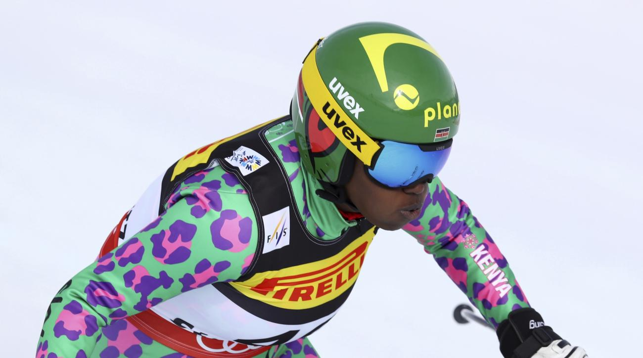 Kenya's Sabrina Simader speeds down the slope during a women's super-G, at the Alpine Ski World Championships, in St. Moritz, Switzerland, Tuesday, Feb. 7, 2017. (AP Photo/Alessandro Trovati)