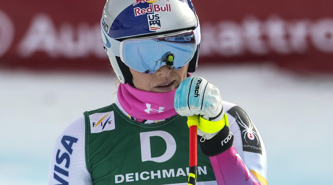 Lindsey Vonn of the United States reacts in the finish area during the women's downhill training at the 2017 Alpine Skiing World Championships in St. Moritz, Switzerland, Wednesday, Feb. 8, 2017. (Peter Schneider/Keystone via AP)