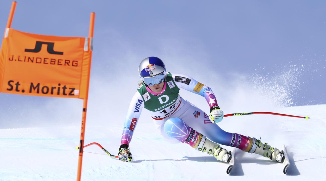 United States's Lindsey Vonn speeds down the slope during a women's downhill at the alpine ski World Championships, in St. Moritz, Switzerland, Thursday, Feb. 9, 2017. (AP Photo/Alessandro Trovati)