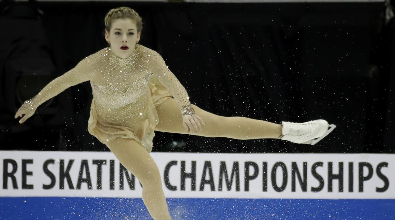 FILE - In this Jan. 21, 2017, file photo, Gracie Gold performs during the women's free skate at the U.S. Figure Skating Championships in Kansas City, Mo. Her season prematurely over, Gracie Gold is looking forward. That's probably a wise decision consider
