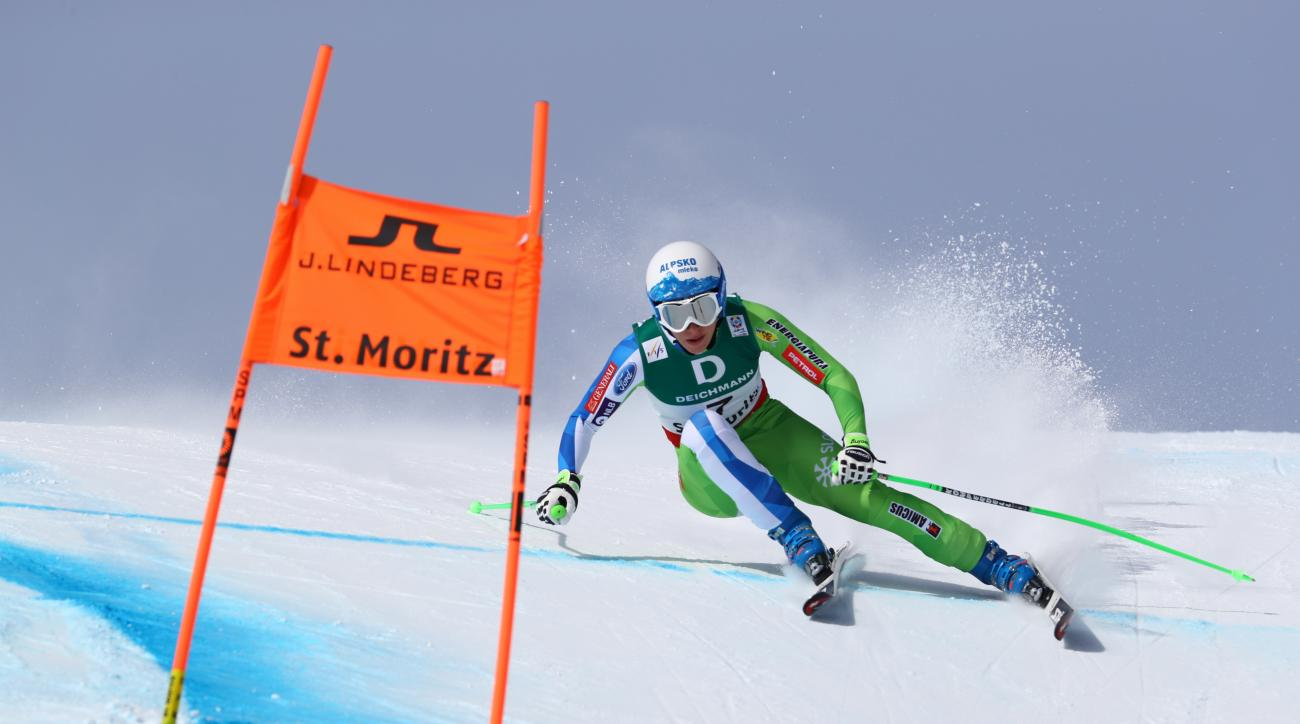 Slovenia's Ilka Stuhec competes during a women's downhill race, at the alpine ski World Championships in St. Moritz, Switzerland, Sunday, Feb.12, 2017. (AP Photo/Alessandro Trovati)