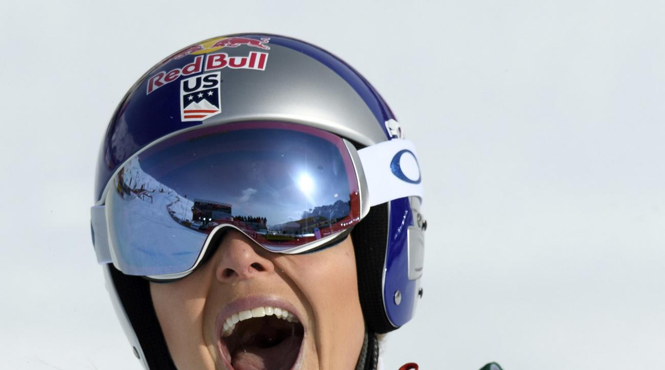 Lindsey Vonn of the USA reacts in the finish area during the women's  downhill race at the 2017 FIS Alpine Skiing World Championships in St. Moritz, Switzerland, Sunday, Feb. 12, 2017. (Peter Schneider/Keystone via AP)