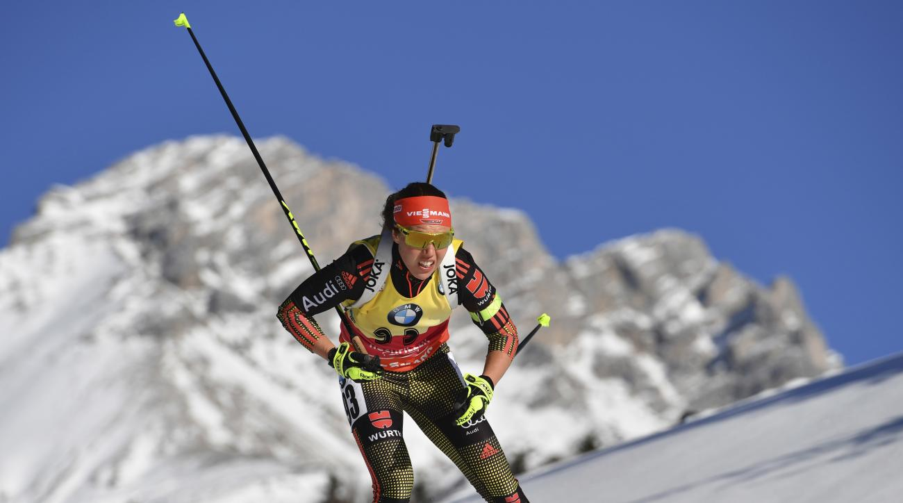 Germany's winner Laura Dahlmeier skis during the women's 15 km individual competition at the Biathlon World Championships in Hochfilzen, Austria, Wednesday, Feb. 15, 2017. (AP Photo/Kerstin Joensson)