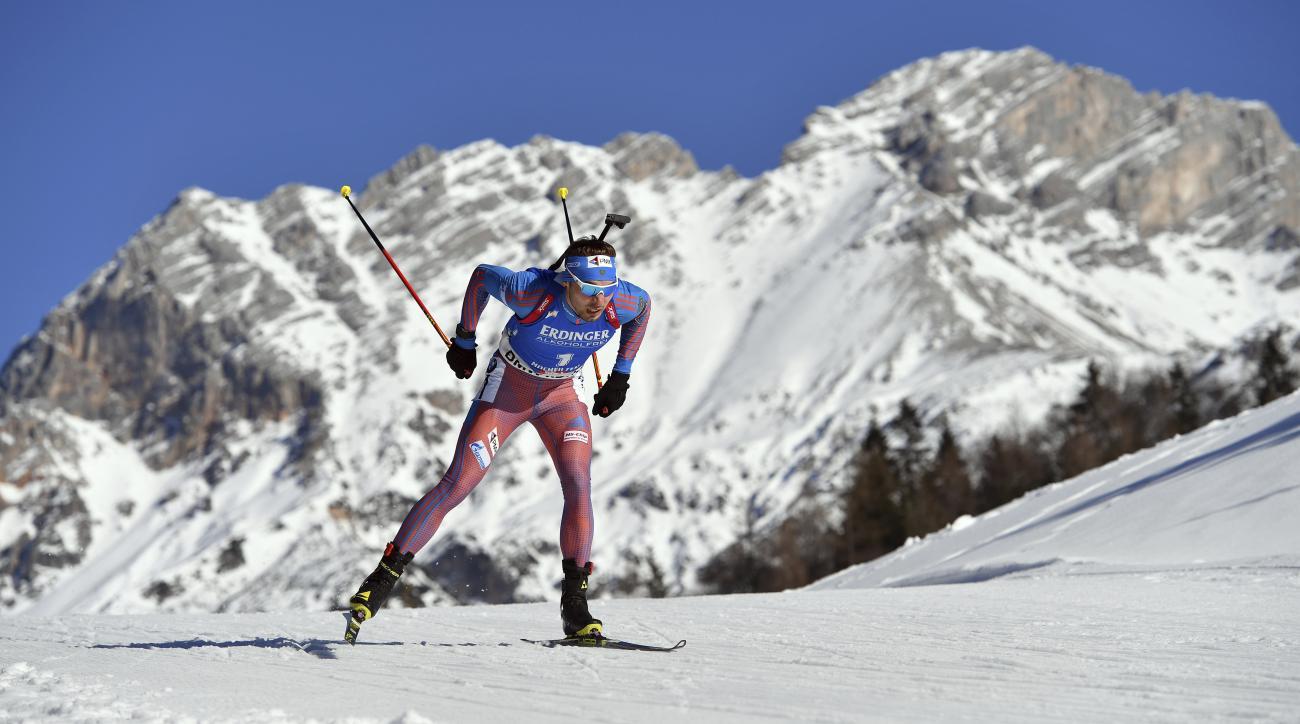 Russia's Anton Shipulin skis during the men's 20 km individual competition at the Biathlon World Championships in Hochfilzen, Austria, Thursday, Feb. 16, 2017. (AP Photo/Kerstin Joensson)