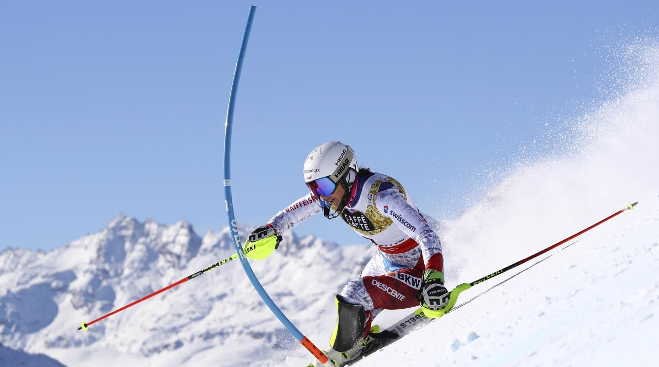 Switzerland's Wendy Holdener competes during a women's slalom, at the alpine ski World Championships, in St. Moritz, Switzerland, Saturday, Feb. 18, 2017. (AP Photo/Alessandro Trovati)
