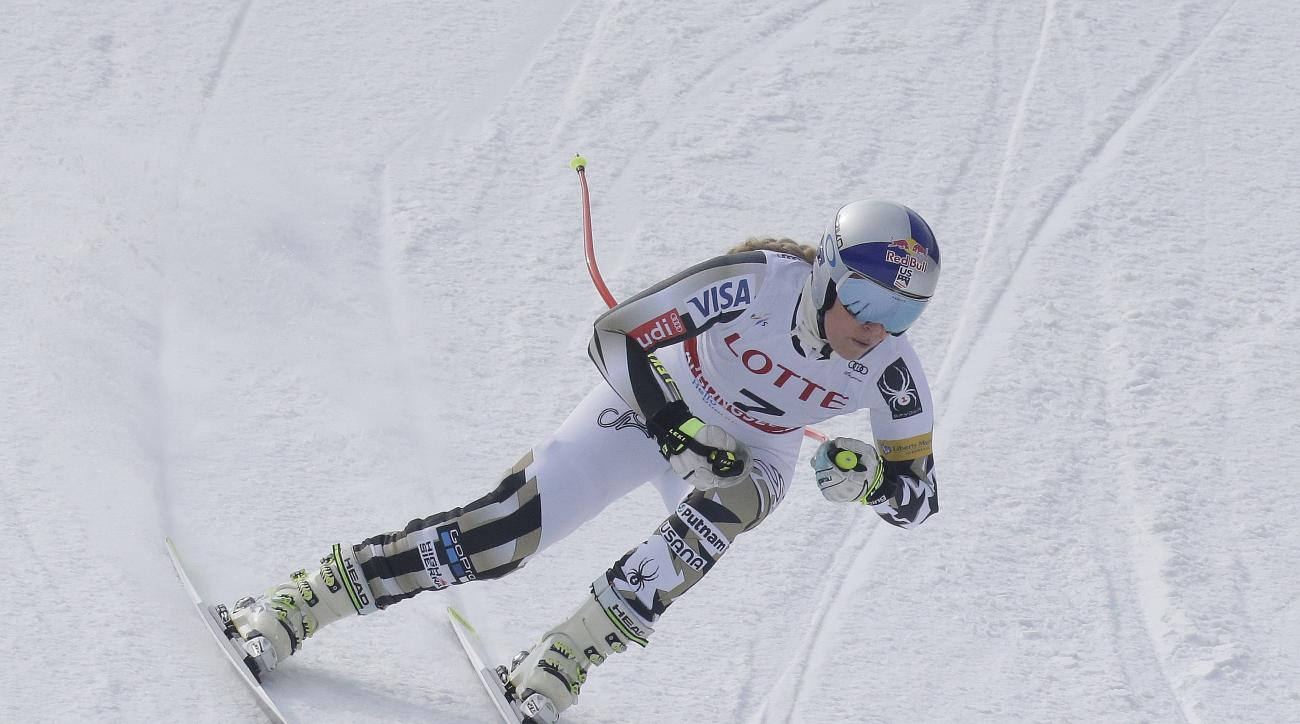 United States' Lindsey Vonn competes during the first training session for a women's World Cup downhill at the Jeongseon Alpine Center in Jeongseon, South Korea, Thursday, March 2, 2017. (AP Photo/Ahn Young-joon)