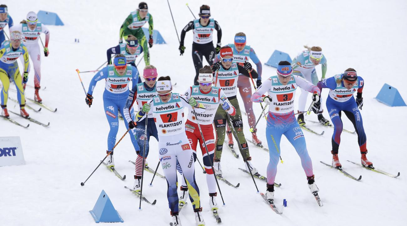 Sweden's AnnaHaag competes during the women's cross country 4x5 km relay classic free competition at the 2017 Nordic Skiing World Championships in Lahti, Finland, Thursday, March 2, 2017. (AP Photo/Matthias Schrader)