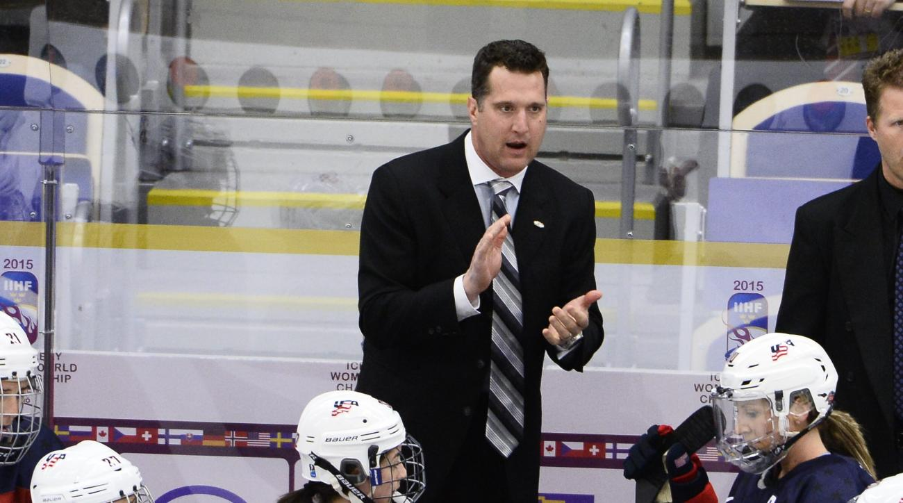 US head coach Ken Klee gestures during the 2015 IIHF Ice Hockey Women's World Championship group A match between USA and Finland at Malmo Isstadion in Malmo, southern Sweden, on Sunday March 29, 2015. (AP Photo/Claudio Bresciani, TT) SWEDEN OUT