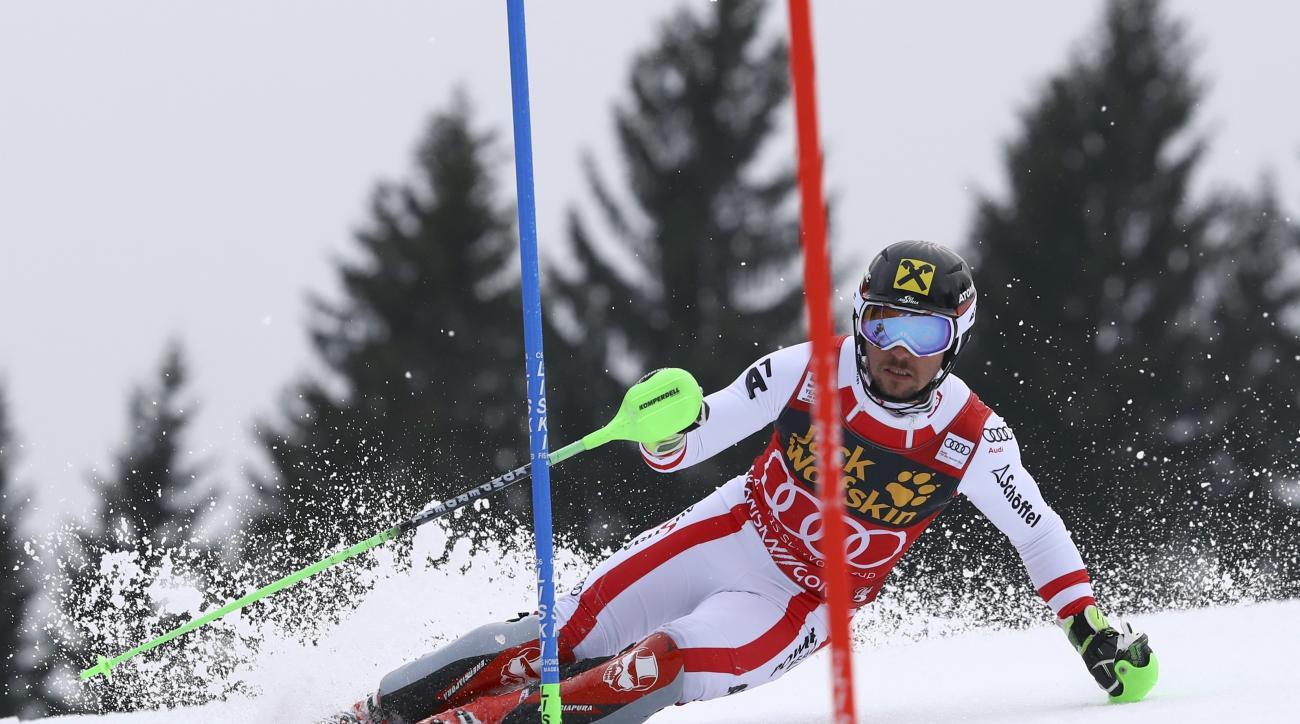 Austria's Marcel Hirscher competes during an alpine ski, men's World Cup slalom, in Kranjska Gora, Slovenia, Sunday, March 5, 2017. (AP Photo/Alessandro Trovati)