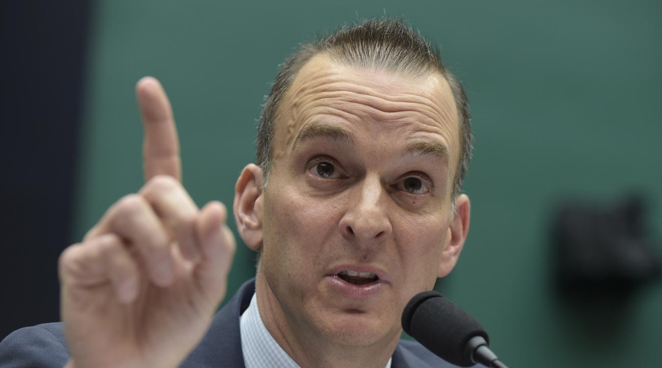 FILE - In this Feb. 28, 2017, file photo, Travis Tygart, the chief executive officer of the U.S. Anti-Doping Agency, testifies on Capitol Hill in Washington. The U.S. Olympic Committee has released an anti-doping position paper, calling for greater indepe