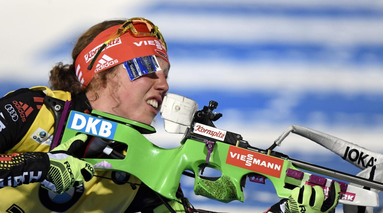 Germany's Laura Dahlmeier competes during the ladies' 7.5 km sprint, at the IBU Biathlon World Cup at Kontiolahti, Finland, Friday, March 10, 2017.  (Heikki Saukkomaa/Lehtikuva via AP)