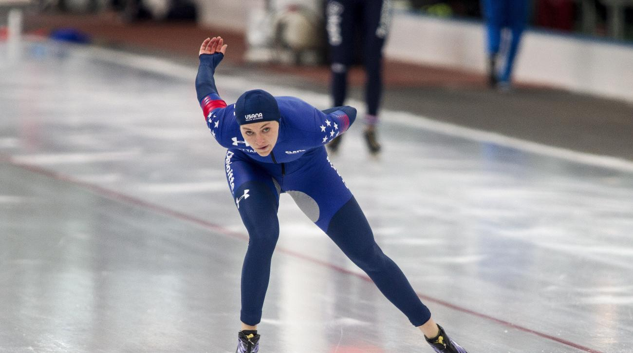 Winner Heather Bergsma of the US in action during the women's 1500m at the world cup speed skating in Stavanger, Norway, Sunday March 12, 2017. (Carina Johansen/NTB Scanpix via AP)