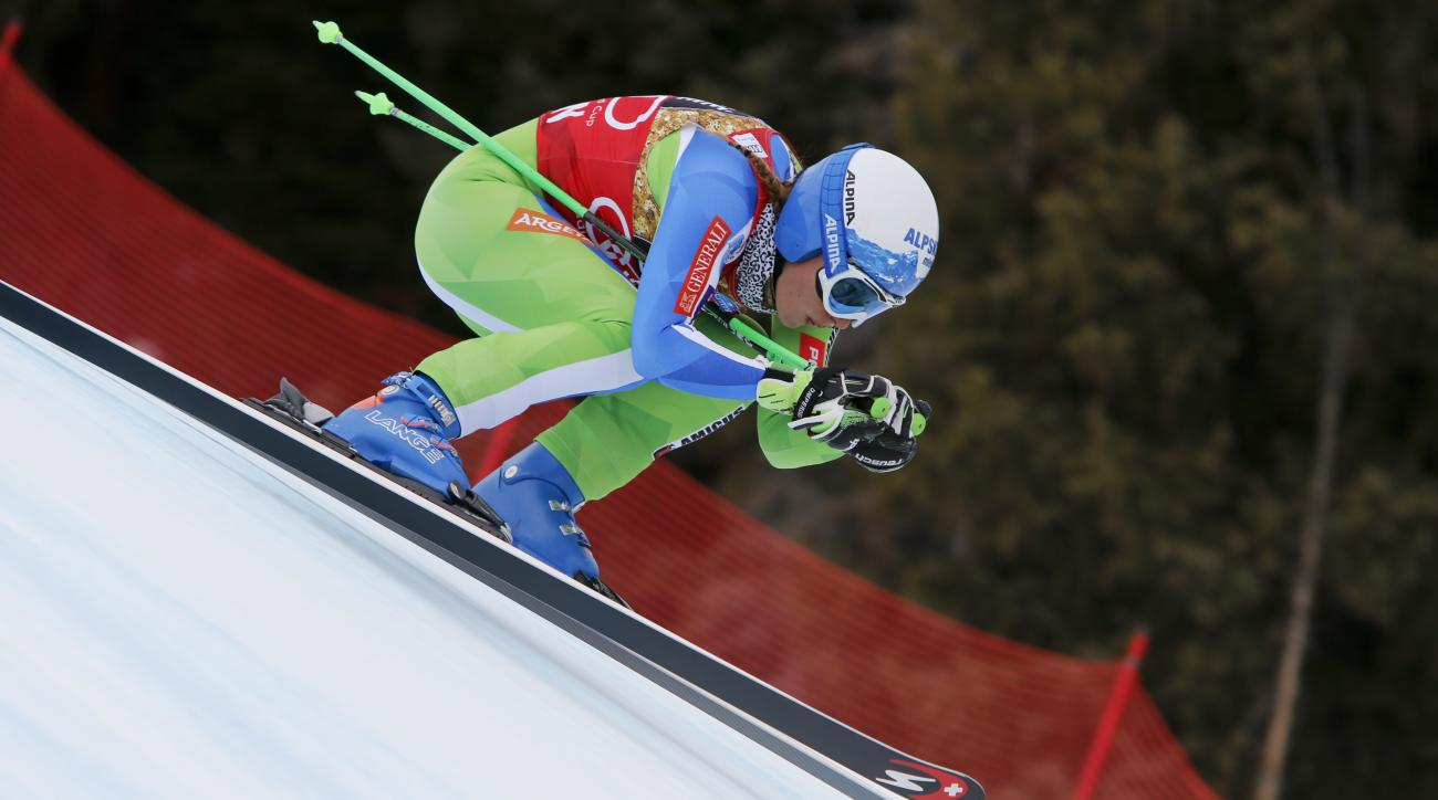 Slovenia's Ilka Stuhec speeds down the course during a training run at the women's World Cup downhill ski race Monday, March 13, 2017, in Aspen, Colo. (AP Photo/Nathan Bilow)