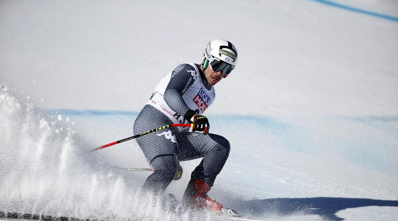 Italy's Peter Fill finishes a run at the men's World Cup downhill ski race Wednesday, March 15, 2017, in Aspen, Colo. (AP Photo/Brennan Linsley)