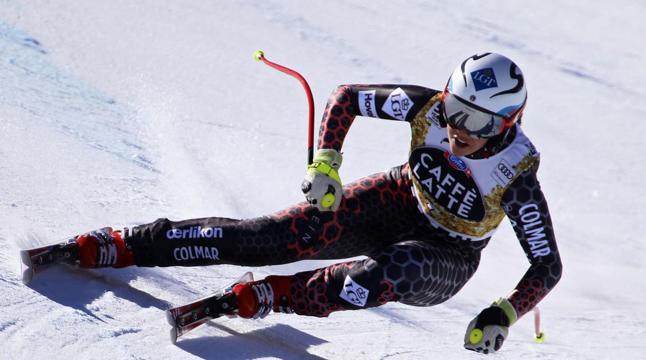 Lithuania's Tina Weirather skis during a run at the women's World Cup downhill ski race Wednesday, March 15, 2017, in Aspen, Colo. (AP Photo/Nathan Bilow)