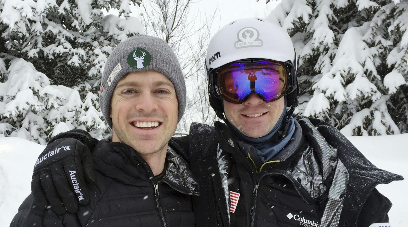 In this image taken Thursday, March 16, 2017, and provided by the U.S. Ski and Snowboard Association , brothers Brad, left, and Bryon Wilson pose in Steamboat Springs, Colo. Bryon is an Olympic bronze medal from Vancouver. Brad finished 20th four years la