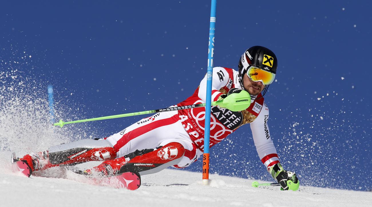 Austria's Marcel Hirscher skis during the first run of a men's World Cup slalom ski race Sunday, March 19, 2017, in Aspen, Colo. (AP Photo/Nathan Bilow)