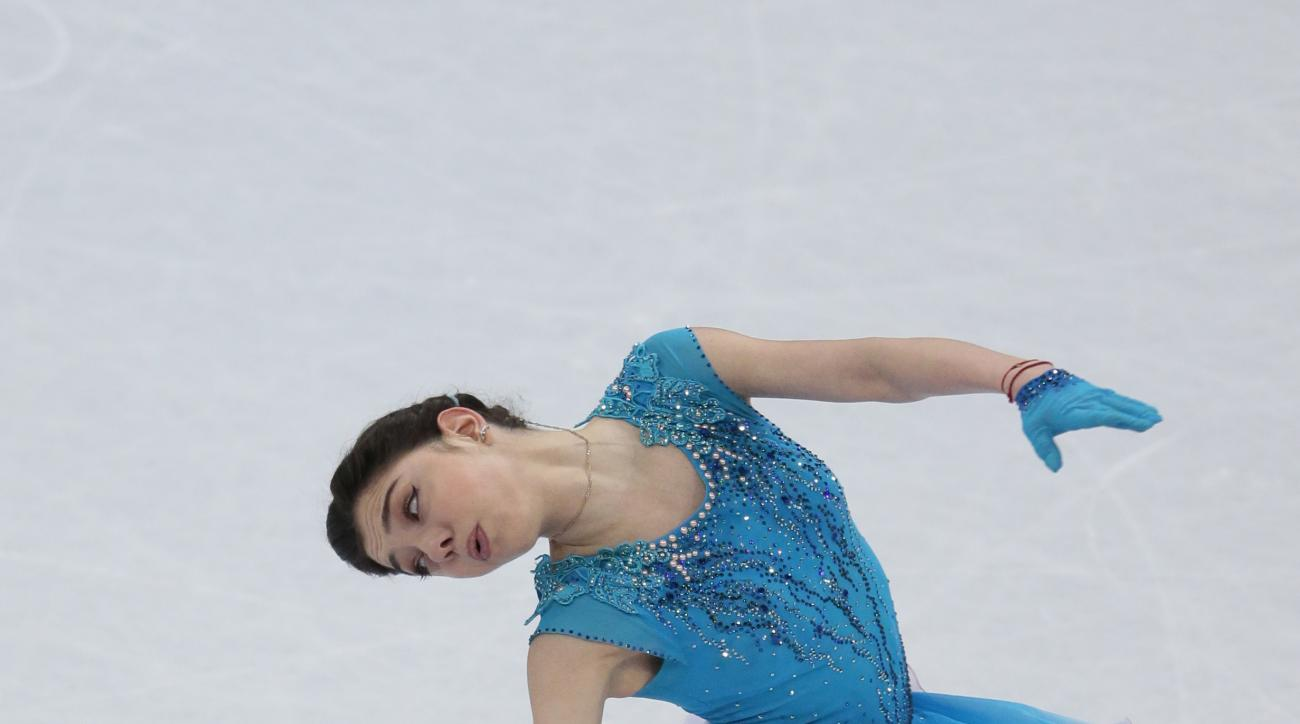 Evgenia Medvedeva, of Russia, skates her short program at the World figure skating championships in Helsinki, Finland, on Wednesday, March 29, 2017. (AP Photo/Ivan Sekretarev)