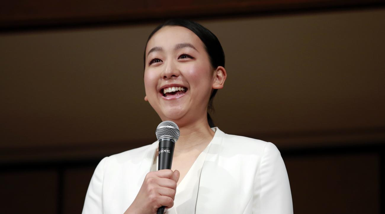 Japan's figure skater Mao Asada speaks during a press conference at a hotel in Tokyo, Wednesday, April 12, 2017. Asada announced her retirement on her blog two days ago. (AP Photo/Shizuo Kambayashi)