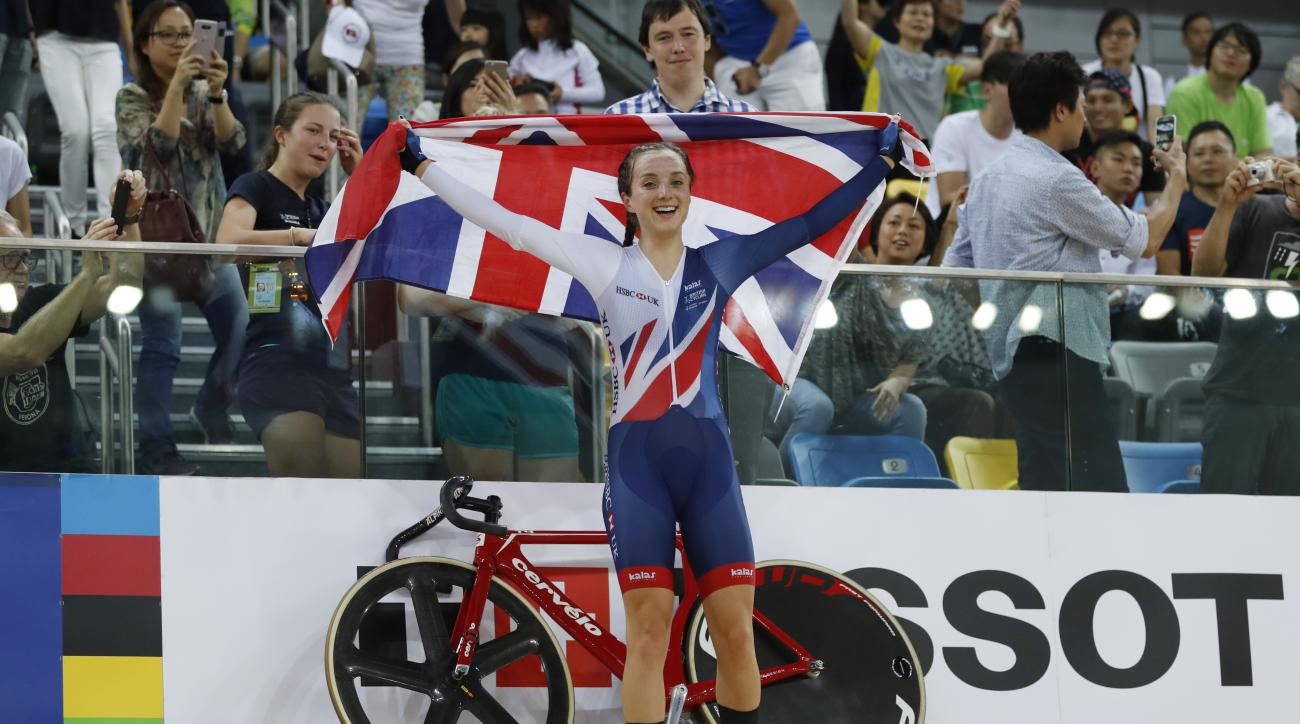 Britain's Elinor Barker celebrates after winning the women's points race at the World Track Cycling Championships in Hong Kong, Sunday, April 16, 2017. (AP Photo/Kin Cheung)