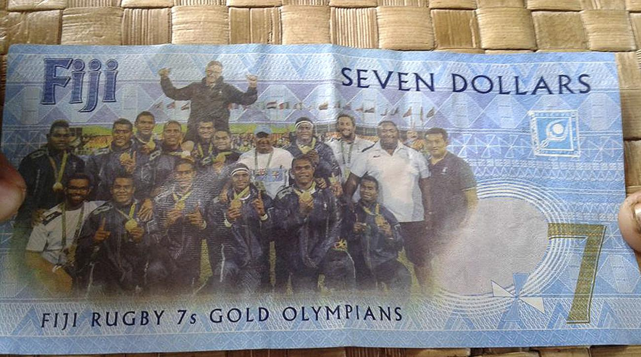 A Fijian $7 banknote banknote is displayed in Suva, Fiji, Friday, April 21, 2017. The government of Fiji is issuing two million $7 banknotes to commemorate the Pacific island nation's gold medal victory in rugby sevens at last year's Rio de Janeiro Olympi