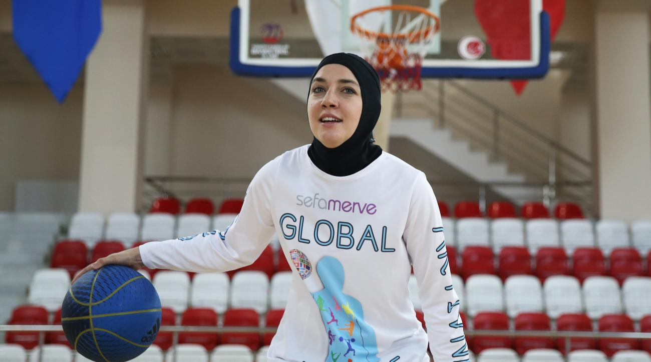 ISTANBUL, TURKEY - JANUARY 11: Bosnian professional basketball player Indira Kaljo, 27, who received approval from FIBA to wear her headscarf during the matches, poses ahead of an exclusive interview in Istanbul, Turkey on January 11, 2016.   (Photo by El